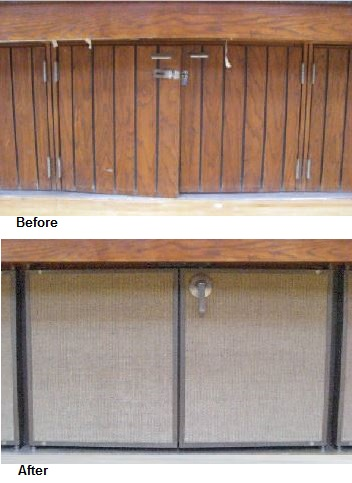 Understage doors before and after at LDS Chapel