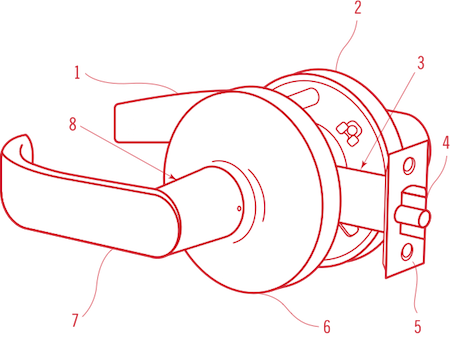 Cylindrical Lock Diagram Line Drawing